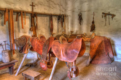 California Mission La Purisima Saddle Shop Art Print