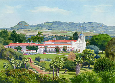 Historic Architecture Painting - California Mission San Luis Rey by Mary Helmreich