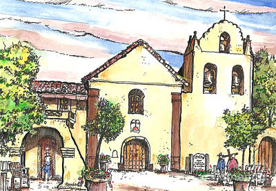 California Mission-santa Ines Art Print by Terry Banderas