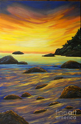 Painting - California Ocean Radiance by Connie Tom