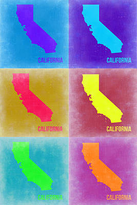 Modern Poster Painting - California Pop Art Map 2 by Naxart Studio