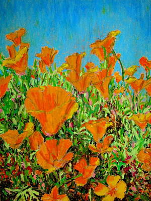 Pastel - California Poppy Painting by David Olson