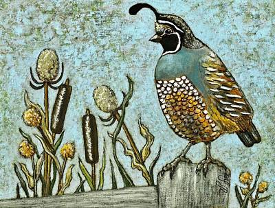 Painting - California Quail by VLee Watson