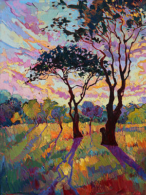 Wine Oil Painting - California Sky Quadtych - Lower Left Panel by Erin Hanson