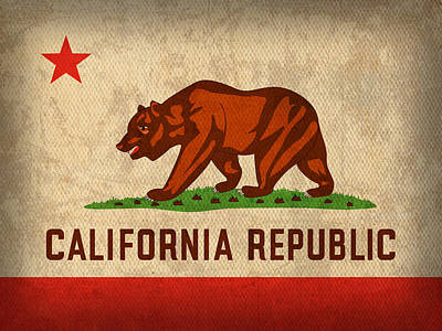 California State Flag Art On Worn Canvas Art Print
