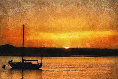 Morro Bay Digital Art - California Sunset Morro Bay Painterly by Ernie Echols