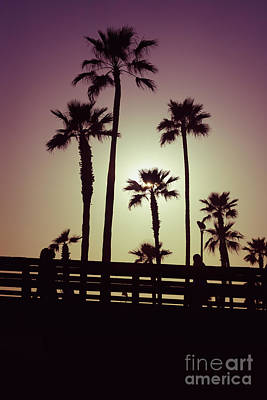 California Sunset Picture With Palm Trees Art Print by Paul Velgos
