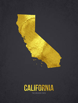 Usa United States Mixed Media - California The Golden State by Aged Pixel