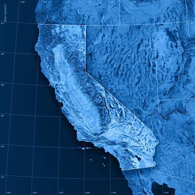 Blue Digital Art - California Topographic Map by Frank Ramspott