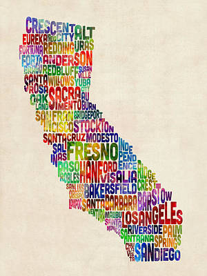 California Typography Text Map Print by Michael Tompsett