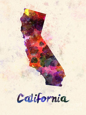 Cartography Painting - California Us State In Watercolor by Pablo Romero