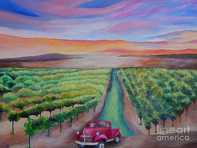 Napa Valley Vineyard Painting - California Vineyard At Sunset Original Acrylic Painting On Canvas  by Louisa Bryant