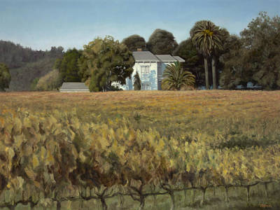 Winery Painting - California Vineyard Estate by Terry Guyer