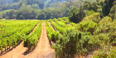 Wine Vineyard Digital Art - California Vineyard Wine Country 5d24518 Long by Wingsdomain Art and Photography