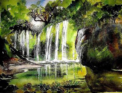 Painting - California Waterfall by Esther Woods