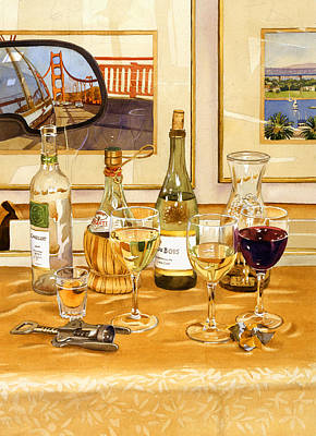 Bay Bridge Painting - California Wine And Watercolors by Mary Helmreich