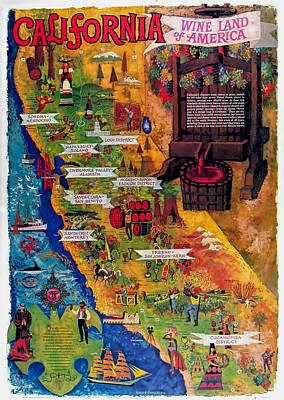 California Wine Map Art Print