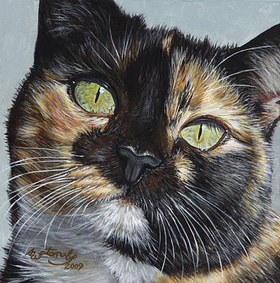 Tortie Painting - Cali's Stare by Akiko Watanabe