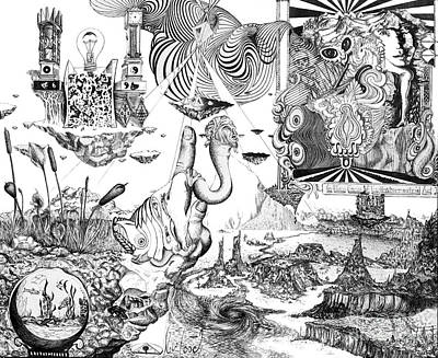 Lilies Drawings - Call of the Reptilian Sapphire in Its Later Years by Stephen Casals
