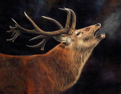 Stags Painting - Call Of The Wild by David Stribbling