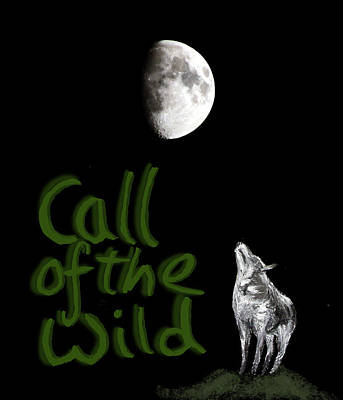 Digital Art - Call Of The Wild Wolf And Moon by Tom Conway