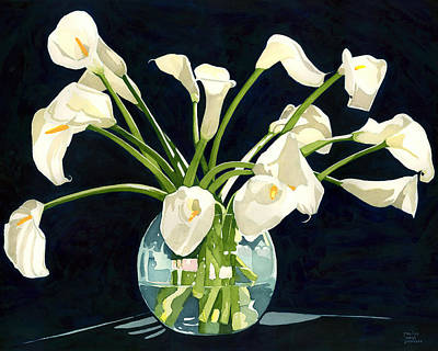 Painting - Calla Lilies In Vase by Pauline Jacobson