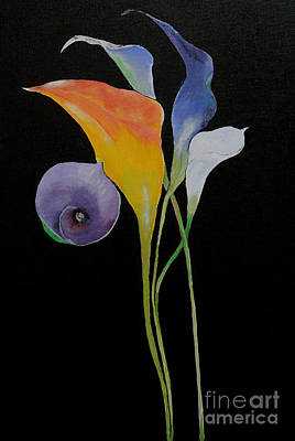 Painting - Calla Lilies On Black by Gary Smith