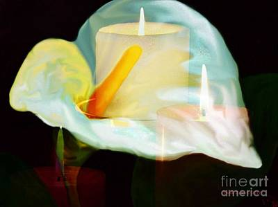 Painting - Calla Lily And Candle Lights by Annie Zeno