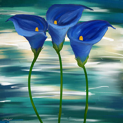 Lilies Royalty-Free and Rights-Managed Images - Calla Trio- Calla Lily Paintings by Lourry Legarde