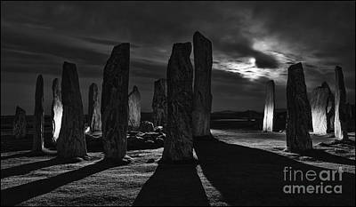 Photograph - Callanish Stones Light Painting No2 Mono by George Hodlin