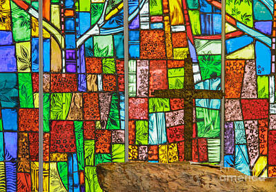 Callaway Gardens Chapel Alter Stone And Stained Glass Window Art Print