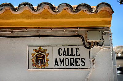 Calle Amores. Streets Of Ronda. Spain Print by Jenny Rainbow
