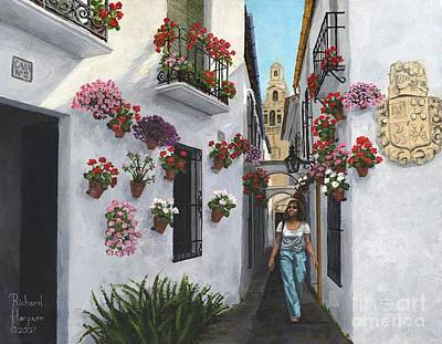 White Flowers Painting - Calle De Las Flores Cordoba by MGL Meiklejohn Graphics Licensing