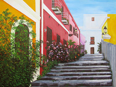 Painting - Callejon En El Viejo San Juan by Gloria E Barreto-Rodriguez