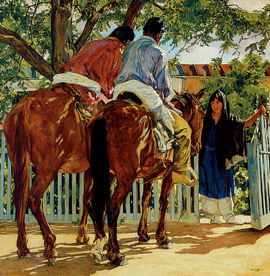 Man On Horse Painting - Callers by Walter Ufer