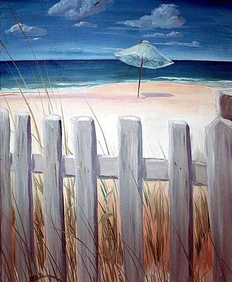 Art Print featuring the painting Calm Day At The Seashore by Bernadette Krupa