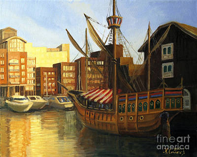 Water Vessels Painting - Calm Harbor by Kiril Stanchev