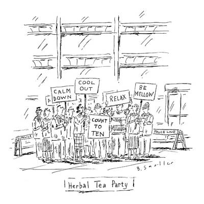 Tea Party Drawing - Calm-looking Protesters Hold Picket Signs. Refers by Barbara Smaller