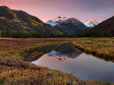 Photograph - Calm Mountain Autumn Sunset by Leland D Howard