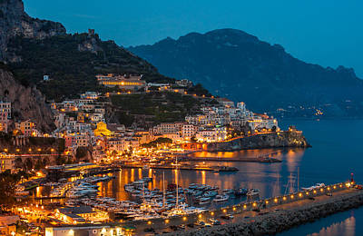 Calm Night Over Amalfi Coast Art Print