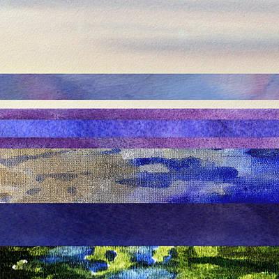 Calm Quiet Morning Abstract Collage Art Print by Irina Sztukowski