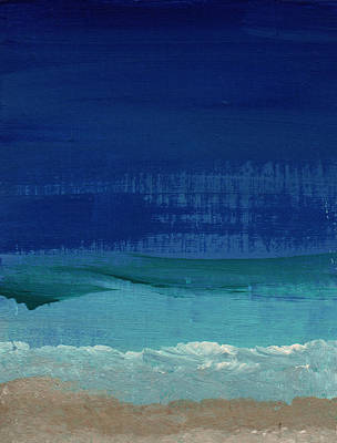 Beach Hotel Art Painting - Calm Waters- Abstract Landscape Painting by Linda Woods