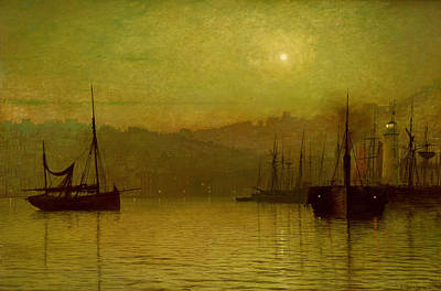 Moonlit Painting - Calm Waters, Scarborough, 1880 by John Atkinson Grimshaw