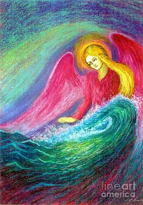 Pink Cards Painting - Calming Angel by Jane Small