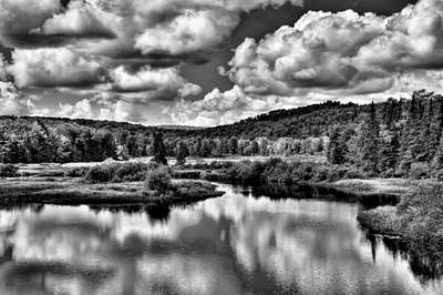 Black And White Photograph - Calmness At The Green Bridge - Old Forge New York by David Patterson