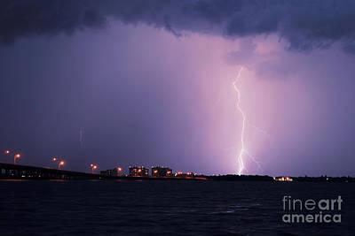 Lightning Photograph - Caloosahatchee River by Quinn Sedam