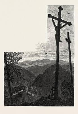 Calvary, Karlsbad, Andelska Hora, Engelhaus Art Print by Czech School
