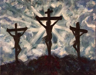 Crucifixtion Painting - Golgotha by Nancy Welsch