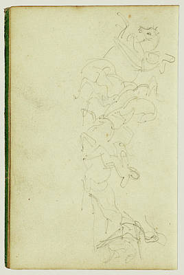 Four Horsemen Drawing - Calvary Skirmish With Four Horsemen Théodore Géricault by Litz Collection