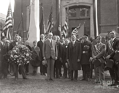 Print featuring the photograph Calvin Coolidge Springfield Ma 1925 by Martin Konopacki Restoration